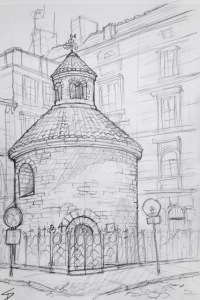Urban Art - Prague, Czech Republic. 'Rotunda of the Finding of the holy cross.' This 11th century rotunda church is the oldest of three rotunda churches in Prague. It's located at the centre of the 'Urban Cross' - a Dan Brown-style cross marked out by the churches of old Prague. sketchbookexplorer.com #art #drawing #sketch #pencil #illustration #travel #architecture #prague