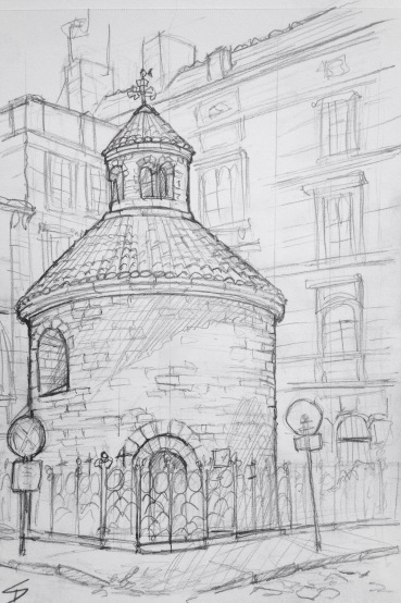 Quick Sketch. 'Rotunda of the Finding of the holy cross, Konviktska, Prague.' This 11th century rotunda church is the oldest of three rotunda churches in Prague. It's located at the centre of the 'Urban Cross' - a Dan Brown-style cross marked out by the churches of old Prague. @davidasutton @sketchbookexplorer Facebook.com/davidanthonysutton #drawing #sketch #prague #travel #travelblog #rotunda