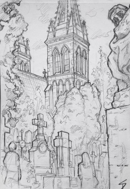 Quick Sketch. 'Vysehrad cemetery, Prague.' Loads of interesting sculptures and styles, from Soviet busts to metal spiderwebs. @davidasutton @sketchbookexplorer Facebook.com/davidanthonysutton #drawing #sketch #prague #travel #travelblog #vysehradcemetery