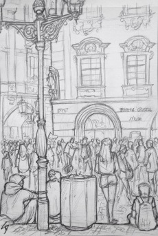 Quick Sketch. 'Old Town Square, Prague.' Packed with tourists waiting for the astronomical clock to chime - the oldest one still in operation in the world. The square is home to medieval-style markets on both Christmas and Easter. @davidasutton @sketchbookexplorer Facebook.com/davidanthonysutton #drawing #sketch #prague #travel #travelblog #oldtownsquareprague