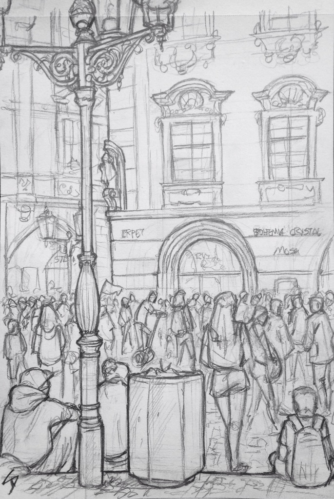 Urban Art - Prague, Czech Republic. 'Old Town Square.' Packed with tourists waiting for the astronomical clock to chime. The square is home to medieval-style markets on both Christmas and Easter. sketchbookexplorer.com #art #drawing #sketch #pencil #illustration #travel #architecture #prague