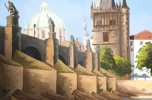 Urban iPad Art - Prague, Czech Republic. 'Charles Bridge.' Painting of my pencil sketch, using an ipad 2, Procreate, and a basic Wacom stylus. sketchbookexplorer.com #art #drawing #sketch #ipad #illustration #travel #architecture #prague