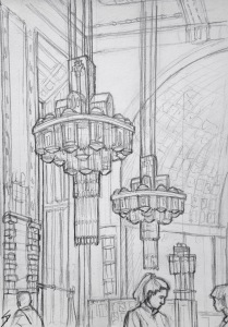 Quick Sketch. 'Obecni Dum Cafe, Prague.' A stunning Art Nouveau cafe. It can be found inside the beautiful Municipal House concert hall. Artists involved in the interior decoration included Mucha. @davidasutton @sketchbookexplorer Facebook.com/davidanthonysutton #drawing #sketch #prague #travel #travelblog #obecnidumcafe