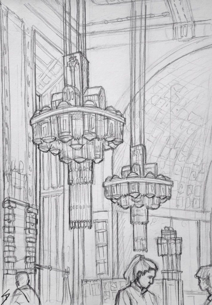 Urban Art - Prague, Czech Republic. 'Obecni Dum Cafe.' A stunning Art Nouveau cafe. It can be found inside the beautiful Municipal House concert hall. Artists involved in the interior decoration included Mucha. Thank you to Maria for pointing it out. And thank you to Veronica, the waitress in the drawing, for not minding me sketching you. sketchbookexplorer.com #art #drawing #sketch #pencil #illustration #travel #architecture #prague