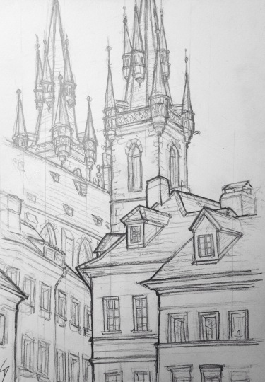 Quick Sketch. 'Tynska, Prague.' View of the spires of the 'Church of Our Lady before Tyn' from a back street of Prague's Old Town. The 14th century gothic church towers 80 metres above the Old Town Square. @davidasutton @sketchbookexplorer Facebook.com/davidanthonysutton #drawing #sketch #prague #travel #travelblog #oldtownsquareprague