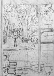 Quick Sketch. 'Vitezna, Prague.' View from just inside a cafe. The trees are shedding pale green buds over the cobbles. @davidasutton @sketchbookexplorer Facebook.com/davidanthonysutton #drawing #sketch #prague #travel #travelblog #vitezna