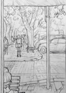 Quick Sketch. 'Vitezna, Prague.' View from just inside a cafe. The trees are shedding pale green buds over the cobbles. @davidasutton @sketchbookexplorer Facebook.com/davidanthonysutton #drawing #sketch #prague #travel #travelblog #vitezna