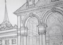 Quick Sketch. 'Prague Senate Gardens.' Also known as the Wallenstein Palace Gardens. Beautiful Italian style gardens, with a strange wall of stone faces, and a view of the castle. @davidasutton @sketchbookexplorer Facebook.com/davidanthonysutton #drawing #sketch #prague #travel #travelblog #praguesenategardens