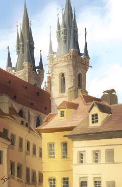 ipad Painting - 'Tynska, Prague.' @davidasutton @sketchbookexplorer Facebook.com/davidanthonysutton #sketch #ipadart #prague #travelblog #travel #tynska