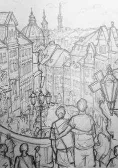 Quick Sketch. 'Radnicke Schody.' Drew this while sat on some steps in the shade, with a Jazz band playing nearby. Great view of the city. @davidasutton @sketchbookexplorer Facebook.com/davidanthonysutton #drawing #sketch #prague #travel #travelblog #radnickeschody