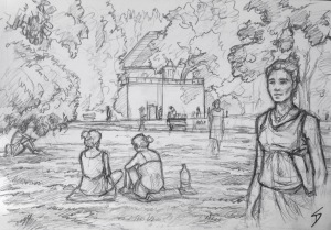 Quick Sketch. 'Kampa Island, Prague.' The locals and tourists enjoying the balmy sunshine. The island is split off from Mala Strana by the narrow 'Devil's Stream.' As well as Kampa park, the island is also home to an art Museum. The island was named by Spanish soldier in 1620, during the Thirty Years War. Kampa - meaning 'campus' (where the soldiers were camped). @davidasutton @sketchbookexplorer Facebook.com/davidanthonysutton #drawing #sketch #prague #travel #travelblog #kampaisland