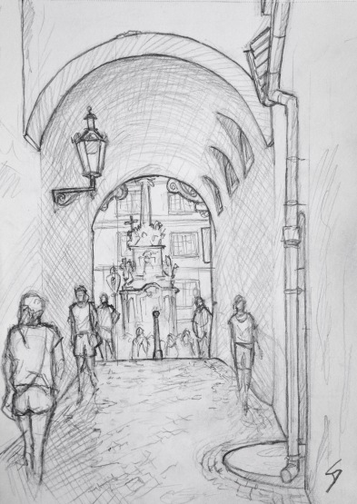 Quick Sketch. 'Trziste, Prague.' A beautiful passageway near the St Nicholas Church, in Mala Strana. The church tower was used to spy on the US embassy, among others, during the Cold War. @davidasutton @sketchbookexplorer Facebook.com/davidanthonysutton #drawing #sketch #prague #travel #travelblog #trziste
