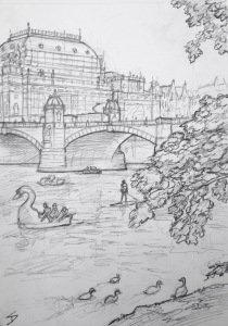 Quick Sketch. 'Střelecký Ostrov Island, Prague.' Overlooking both banks of the Vltava River, and tucked under the stunning Legion Bridge, this island was once used as a training ground for archers. Now the island / park hosts numerous music and food festivals. The island boasts a great view of the golden-roofed National Theatre 'Národní Divaldo' - opened in 1881. @davidasutton @sketchbookexplorer Facebook.com/davidanthonysutton #drawing #sketch #prague #travel #travelblog #streleckyisland