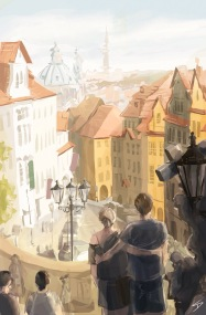 ipad Painting - 'Radnicke Schody, Prague.' @davidasutton @sketchbookexplorer Facebook.com/davidanthonysutton #sketch #ipadart #prague #travelblog #travel #radnickeschody