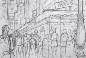 Quick Sketch. 'Havelske Trziste Market, Prague.' Located near Wenceslas Square, and with a history stretching back to 1232, this open air market is open all year round. It focuses on selling to tourists. If you need a souvenir, pay the market a visit. @davidasutton @sketchbookexplorer Facebook.com/davidanthonysutton #drawing #sketch #prague #travel #travelblog #havelsketrziste