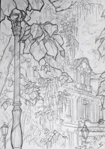 Quick Sketch. 'Zahrady Pod Pražským Hradem, Prague.' Entrance to the gardens. The Zahrady Pod Prazskym Hradem is a collection of gardens that lay on the southern slope of Prague Castle. @davidasutton @sketchbookexplorer Facebook.com/davidanthonysutton #drawing #sketch #prague #travel #travelblog #zahradypodprazskymhradem