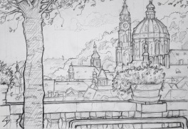 Quick Sketch 2. 'Zahrady Pod Pražským Hradem, Prague.' View from the terrace wall gardens below Prague Castle. The St Nicholas Church stands proud over the beautiful Mala Strana district. @davidasutton @sketchbookexplorer Facebook.com/davidanthonysutton #drawing #sketch #prague #travel #travelblog #zahradypodprazskymhradem
