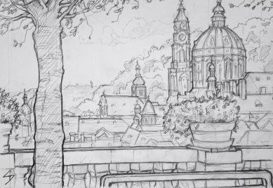 Quick Sketch 2. 'Zahrady Pod Pražským Hradem, Prague.' View from the terrace wall gardens below Prague Castle. The St Nicholas Church stands proud over the beautiful Mala Strana district. @davidasutton @sketchbookexplorer Facebook.com/davidanthonysutton #drawing #sketch #prague #travel #travelblog #zahradypodprazskymhradem