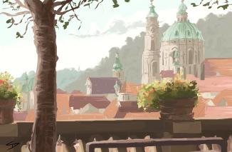 ipad Painting - 'Zahrady Pod Pražským Hradem, Prague.' @davidasutton @sketchbookexplorer Facebook.com/davidanthonysutton #sketch #ipadart #prague #travelblog #travel #zahradypodprazskymhradem