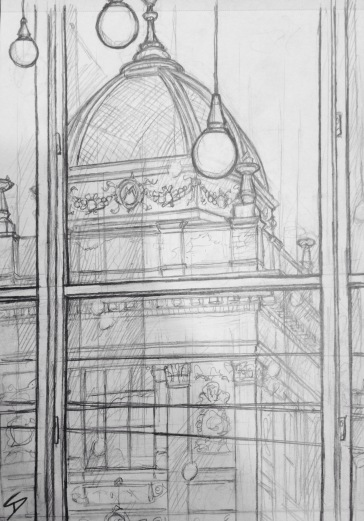 Quick Sketch. 'Cafedu, Prague.' View from inside Cafedu as the sun dips. Great student cafe near the National Museum - the building in the drawing. @davidasutton @sketchbookexplorer Facebook.com/davidanthonysutton #drawing #sketch #prague #travel #travelblog #cafedu