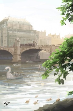 ipad Painting - 'Střelecký Ostrov Island, Prague.' @davidasutton @sketchbookexplorer Facebook.com/davidanthonysutton #sketch #ipadart #prague #travelblog #travel #streleckyisland