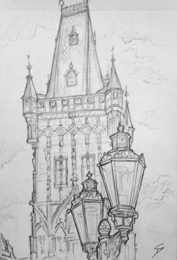 Quick Sketch. 'Prašná Brána, Prague.' Also known as the Powder Tower, this 13th century gothic gate-tower marks the original border between Prague's Old Town and New Town. It was modelled after the tower on Charles bridge. Gunpowder was stored inside the tower in the 17th century. @davidasutton @sketchbookexplorer Facebook.com/davidanthonysutton #drawing #sketch #prague #travel #travelblog #prasnabrana