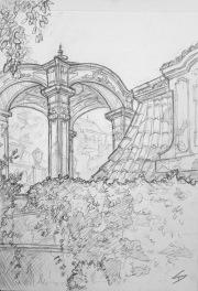 Quick Sketch 3. 'Zahrady Pod Pražským Hradem, Prague.' The terrace wall gardens below Prague Castle. A garden filled with ornate terraces, balustrades and pavilions. @davidasutton @sketchbookexplorer Facebook.com/davidanthonysutton #drawing #sketch #prague #travel #travelblog #zahradypodprazskymhradem