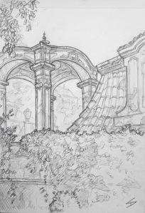 Quick Sketch 3. 'Zahrady Pod Pražským Hradem, Prague.' The terrace wall gardens below Prague Castle. A garden filled with ornate terraces, balustrades and pavilions. @davidasutton @sketchbookexplorer Facebook.com/davidanthonysutton #drawing #sketch #prague #travel #travelblog #zahradypodprazskymhradem