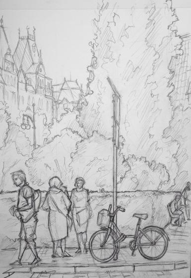 Quick Sketch. 'Corner of Brehova and Maiselova, Prague.' View from a cafe in the Jewish Quarter. @davidasutton @sketchbookexplorer Facebook.com/davidanthonysutton #drawing #sketch #prague #travel #travelblog #jewishquarterprague