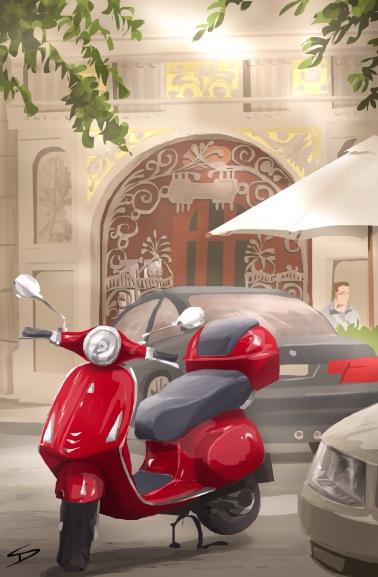 ipad Painting - 'Parizska, Jewish Quarter, Prague.' @davidasutton @sketchbookexplorer Facebook.com/davidanthonysutton #sketch #ipadart #prague #travelblog #travel #jewishquarter