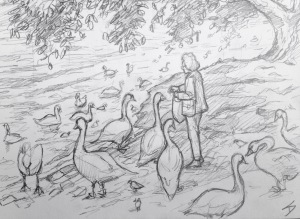 Quick Sketch. 'Cihelna, Prague.' Feeding the birds on the bank of the Vltava. Possibly getting its name from the old Germanic word 'wilt ahwa' (wild water), the Vltava river is the longest in the Czech Republic. It flows through Cesky Krumlov, Ceske Budejovice, and Prague, before eventually joining the Elbe. @davidasutton @sketchbookexplorer Facebook.com/davidanthonysutton #drawing #sketch #prague #travel #travelblog #cilhelna #vltava