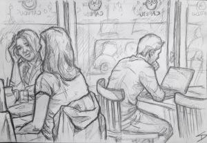 Quick Sketch. 'Cafedu, Prague.' Great and very busy student cafe. Friendly staff, and of course study friendly. @davidasutton @sketchbookexplorer Facebook.com/davidanthonysutton #drawing #sketch #prague #travel #travelblog #cafedu