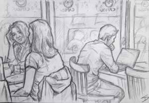 Quick Sketch. 'Cafedu, Prague.' Great and very busy student cafe. Friendly staff, and of course study friendly. @davidasutton @sketchbookexplorer Facebook.com/davidanthonysutton #drawing #sketch #prague #travel #travelblog #cafedu