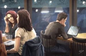 ipad Painting - 'Cafedu, Prague.' @davidasutton @sketchbookexplorer Facebook.com/davidanthonysutton #sketch #ipadart #prague #travelblog #travel #cafedu
