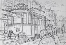 Quick Sketch. 'Wenceslas Square, Prague.' Old tram car used as a cafe. Also known as 'Vaclavska Namesti', Wenceslas Square is one of Prague's main squares. It is named after Saint Wenceslas - patron saint of Bohemia. Some buildings at the Museum end of the square were destroyed during the Prague Uprising of 1945. @davidasutton @sketchbookexplorer Facebook.com/davidanthonysutton #drawing #sketch #prague #travel #travelblog #wenceslassquareprague