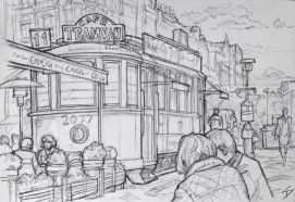 Quick Sketch. 'Wenceslas Square, Prague.' Old tram car used as a cafe. Also known as 'Vaclavska Namesti', Wenceslas Square is one of Prague's main squares. It is named after Saint Wenceslas - patron saint of Bohemia. Some buildings at the Museum end of the square were destroyed during the Prague Uprising of 1945. @davidasutton @sketchbookexplorer Facebook.com/davidanthonysutton #drawing #sketch #prague #travel #travelblog #wenceslassquareprague