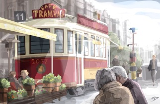 ipad Painting - 'Wenceslas Square, Prague.' @davidasutton @sketchbookexplorer Facebook.com/davidanthonysutton #sketch #ipadart #prague #travelblog #travel #wenceslassquareprague