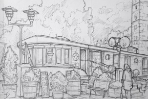 Quick Sketch. 'Naplavka, Prague.' View of one of the boats moored along Naplavka - Boat Klotylda Hotel. Great area of the river, especially for bars and live music at night. It's Prague's own cobbled-beach / pavement, and stretches from the Palacky Bridge to the Vyton tram stop. @davidasutton @sketchbookexplorer Facebook.com/davidanthonysutton #drawing #sketch #prague #travel #travelblog #naplavkaprague