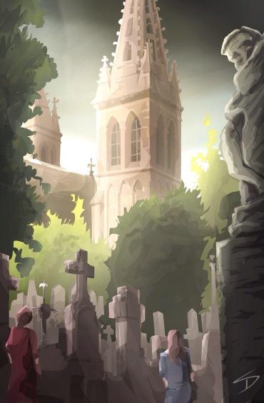 ipad Painting - 'Vysehrad cemetery, Prague.' @davidasutton @sketchbookexplorer Facebook.com/davidanthonysutton #sketch #ipadart #prague #travelblog #travel #vysehradcemetery