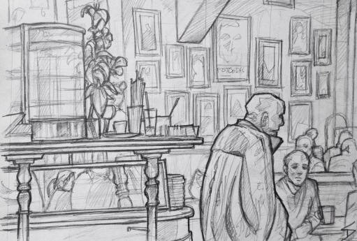 Quick Sketch. 'Kavovarna, Lucerna, Prague.' A great retro cafe bar, just off Wenceslas Square. The cafe can be found inside the art nouveau Lucerna Palace passageway, built in 1920 (also home to the Lucerna Theatre, Lucerna Cafe, Lucerna Music Bar, and a giant statue of King Wenceslas riding an upside-down horse, hanging from the ceiling - apparently the artist meant to mock the equestrian statue at the top of Wenceslas Square). @davidasutton @sketchbookexplorer Facebook.com/davidanthonysutton #drawing #sketch #prague #travel #travelblog #kavovarnalucerna