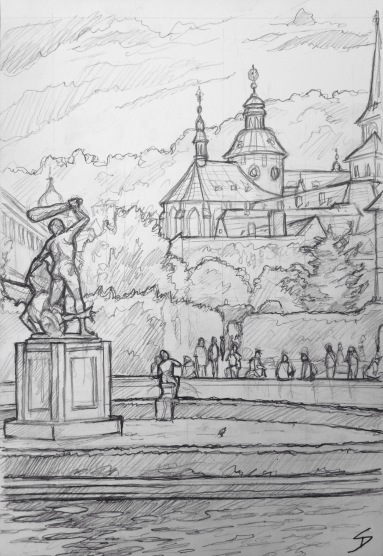 Quick Sketch. 'Waldstein Gardens, Prague.' View past Hercules statue. The garden's pond is full of large Koi carp. In 1816 inventor Josef Bozek used the pond to work on his steamship experiments. The original statues in the gardens were stolen by Swedish troops in 1648, as war booty. Replicas were created in the early 20th century. Nowadays, in the summer, the gardens hosts music concerts. @davidasutton @sketchbookexplorer Facebook.com/davidanthonysutton #drawing #sketch #prague #travel #travelblog #waldsteingardens