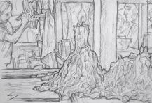 Quick Sketch. 'Vzorkovna, Národní, Prague.' Vzorkovna is great alternative grungy club. A dark maze of vaulted rooms and passageways, inhabited by a resident Irish wolfhound, with a Mohican. @davidasutton @sketchbookexplorer Facebook.com/davidanthonysutton #drawing #sketch #prague #travel #travelblog #vzorkovna