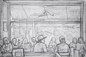 Quick Sketch. 'Slavia Kavarna, Narodni, Prague.' Great Art Deco restaurant and cafe, next to Prague National Theatre, on the bank of the Vltava. Opened in 1884, it has a history of being frequented by Czech dissidents, poets, writers and thinkers. @davidasutton @sketchbookexplorer Facebook.com/davidanthonysutton #drawing #sketch #prague #travel #travelblog #slaviakavarna
