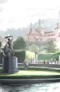 ipad Painting - 'Waldstein Gardens, Prague.' @davidasutton @sketchbookexplorer Facebook.com/davidanthonysutton #sketch #ipadart #prague #travelblog #travel #waldsteingardens