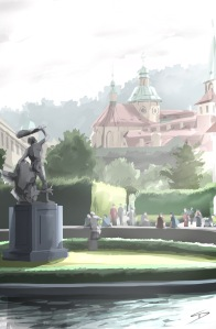 ipad Painting - 'Waldstein Gardens, Prague.' @davidasutton @sketchbookexplorer Facebook.com/davidanthonysutton #sketch #ipadart #prague #travelblog #travel #waldsteingardens
