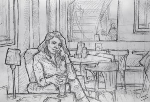 Quick Sketch. 'The Globe Bookstore Cafe, Prague.' Hot chocolate with a friend. The cafe is at the back of an english bookstore. Opened in 1993, it often hosts social and charitable events. @davidasutton @sketchbookexplorer Facebook.com/davidanthonysutton #drawing #sketch #prague #travel #travelblog #theglobecz