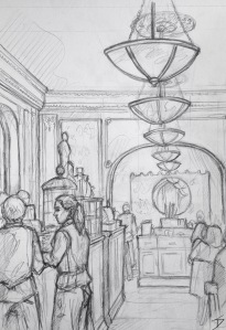 Quick Sketch. 'Cafe Louvre, Prague.' If you want to know what it would have felt like to grab a coffee in early 1900s Europe, this cafe will take you there. It's over a century old. Previous guests included Albert Einstein and Franz Kafka. @davidasutton @sketchbookexplorer Facebook.com/davidanthonysutton #drawing #sketch #prague #travel #travelblog #cafelouvreprague