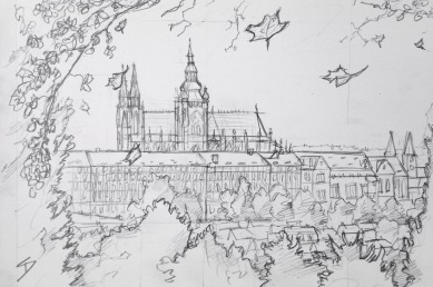 Quick Sketch. 'Kinského Zahrada, Prague.' Great view of Prague Castle through the autumn trees of Petrin Hill Park. Drawn from the Nebozizek Restaurant. With parts constructed in the 9th century, and taking up an area of 70,000 square meters, Prague Castle is the largest ancient castle in the world - according to the Guinness Book of Records. @davidasutton @sketchbookexplorer Facebook.com/davidanthonysutton #drawing #sketch #prague #travel #travelblog #petrinhill