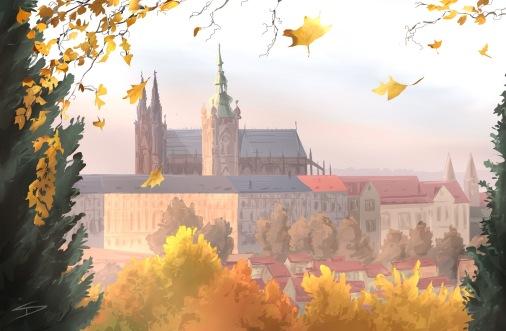 ipad Painting - 'Kinského Zahrada, Prague.' @davidasutton @sketchbookexplorer Facebook.com/davidanthonysutton #sketch #ipadart #prague #travelblog #travel #petrinhill