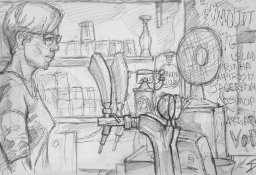Quick Sketch. 'Chapeau Rouge, Prague.' A cool bar and club. Thanks to the barmaid Tereza for letting me sketch her. @davidasutton @sketchbookexplorer Facebook.com/davidanthonysutton #drawing #sketch #prague #travel #travelblog #chapeaurougeprague